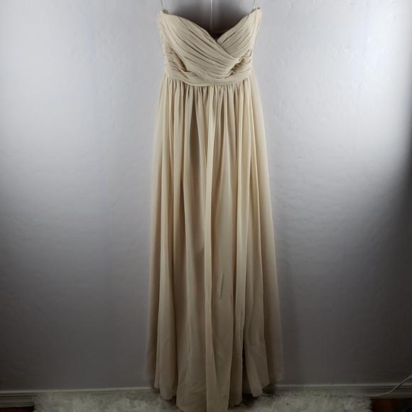 Bill Levkoff Dresses & Skirts - BILL LEVKOFF Cream Chiffon Lined Strapless Dress